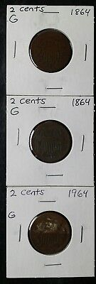 Three 1864 2c Two-Cent Pieces