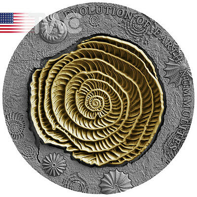 Niue 2017 2$ Nummulites Evolution of Earth 2 oz Antique Finish Silver Coin