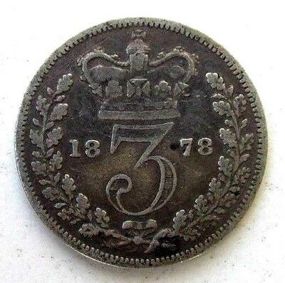 Great Britain Uk Coins, Threepence 1878, Victoria, Silver 0.925