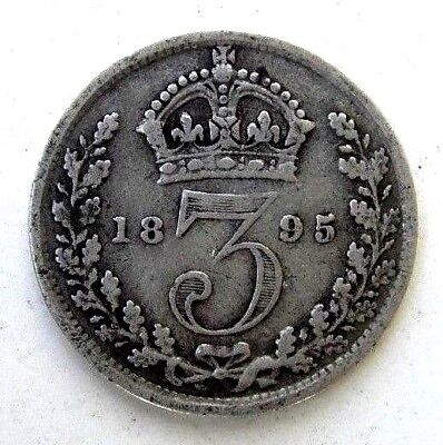 Great Britain Uk Coins, Threepence 1895, Victoria, Silver 0.925