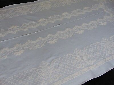 Vintage Crisp Blue French Cotton Damask Baroque Pattern Large Tablecloth 108X206