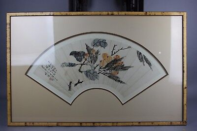 19th/20th C. Framed Chinese Fan With Images of Peaches Tree