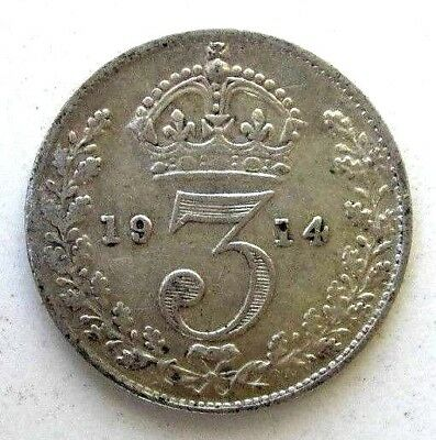 Great Britain Uk Coins, Threepence 1914, George V, Silver 0.925