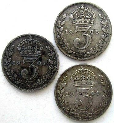 Great Britain Uk Coins, Threepence 1907 & 1908 & 1909, Edward Vii, Silver 0.925