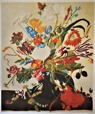 MASTERPIECE Floral Spinnerin 20x16 Marjorie Gosz Vintage CREWEL Embroidery KIT