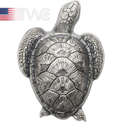 Palau 2017 10$ Sea Turtle-Shaped 45g  Antique Finish Silver Coin