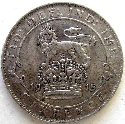 Great Britain Uk Coins, Sixpence 1915, George V, Silver 0.925