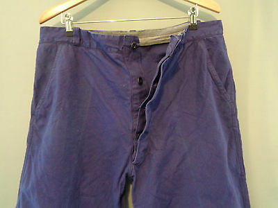 Vtg 40s 50s French indigo blue cotton work trousers worker chore pants