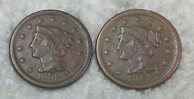 1855 slanted and upright 5's large cents - Free Shipping