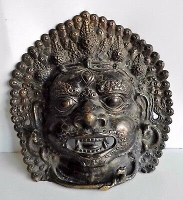 Extremely Rare Large Old Tibetan Mahakala Bronze Mask - Important Early Example