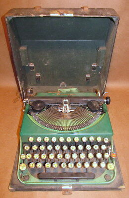 Vintage Green Remington Portable Typewriter With Pop Up Keys And Case For Parts