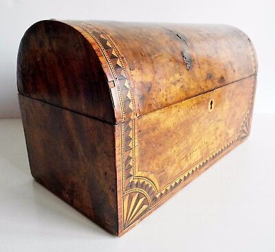 Wonderful Rare Old Victorian Walnut Inlaid Dome Topped Tea Caddy - Fine Example