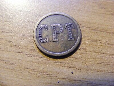 Interesting C.P.T Token No 1 on Reverse  - Nice Condition 16mm Dia