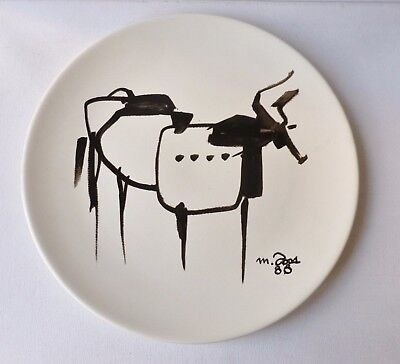 Large Art Pottery Plate With Stylised Bull in Picasso Style Signed and Dated