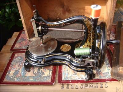 Old Vintage Antique Hand Crank Jones  Sewing Machine APPROX 1890S  SEE VIDEO