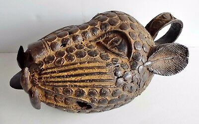 Magnificent Huge Old Benin Bronze Leopards Head - Real African Statement Piece