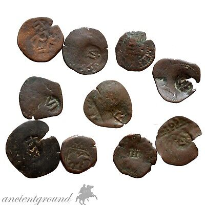 Lot Of 10 Bronze Spain Ae Pirates Coins