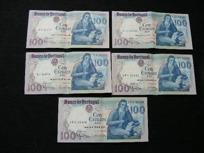 Portugal Banknotes Lot of 5 100 Escudos all centre fold EF