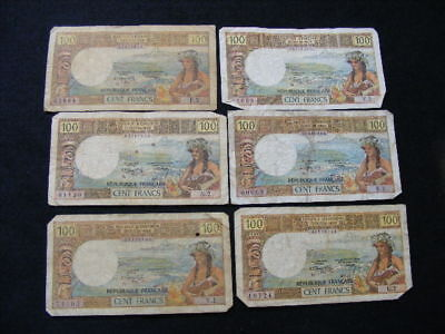 France / Tahiti Institut D'Emission 100 Francs Banknotes Lot of 6 as pictured