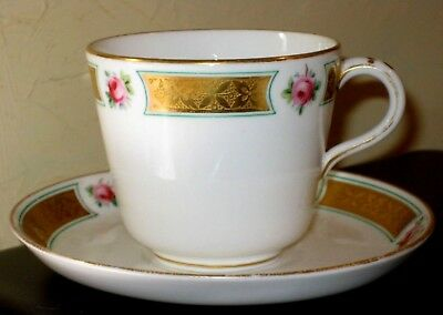 19thc Minton gilded cup and saucer with roses decoration