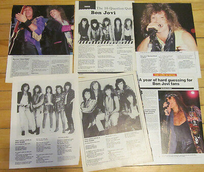 Bon Jovi, Lot of SIX Full Page Vintage Clippings