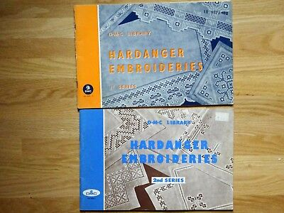 DMC Library Hardanger Embroideries 1st 2nd Series Patterns 2 Books