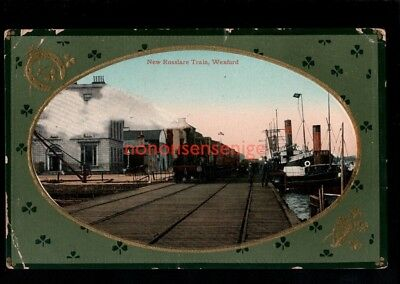 IRELAND Co Wexford WEXFORD NEW ROSSLARE TRAIN AT HARBOURSIDE POSTCARD 1918 - 48