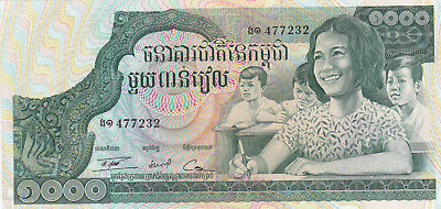1000 Riels Aunc Crispy Banknote From Cambodia 1973!pick-17