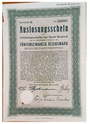 25 ReichsMarks German Bond issued in 1927 by Rostock stadt B xf