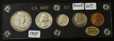 Beautiful USA 1954 Proof Set of 5 coins in plastic case