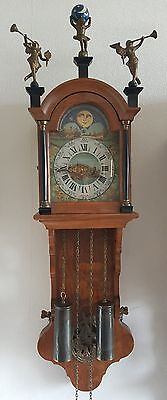 Wall Clock Dutch Friese Oak Wood Chain Driven Moon Phase Painted Dial 70s