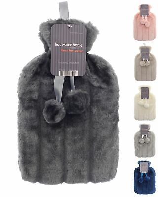 Plain Faux Fur Hot Water Bottle With Pom Poms, Thermotherapy Winter Gift