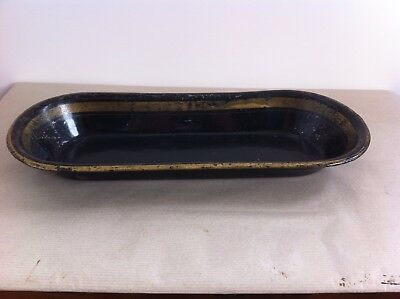 LOVELY LARGE DECORATIVE 19th CENTURY PAINTED TOLEWARE TRAY 16 by 6.7 inches