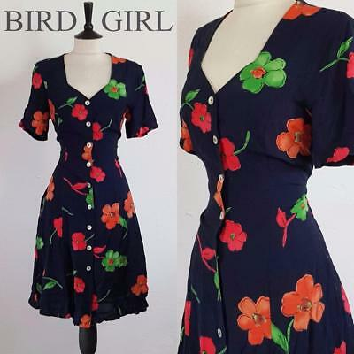 Grunge 1990S Vintage Navy Painted Floral Print Button Through Indie Dress 10-12
