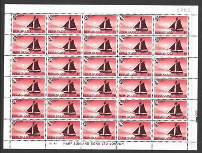 Herm Island 1969 Ship Definitives 1/6 Complete Sheet of 30 Labels