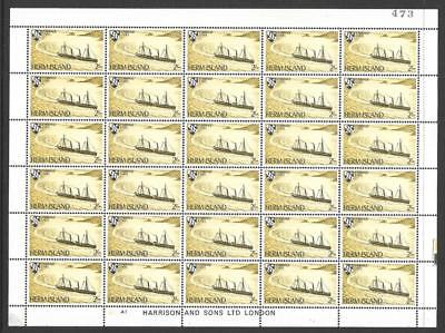 Herm Island 1969 Ship Definitives 2/- Complete Sheet of 30 Labels