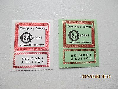 1971 Postal Strike 2 Belmont And Sutton 2/- Recorded Delivery Stamps U/mint