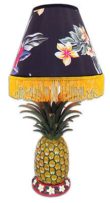 "Hawaiian Hand Painted Pineapple 26"" Lamp Vintage Style Floral Shade Hawaiiana NB"