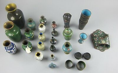 Huge 30pc Lot Antique Chinese Cloisonne Miniature/Small Vases, Cups