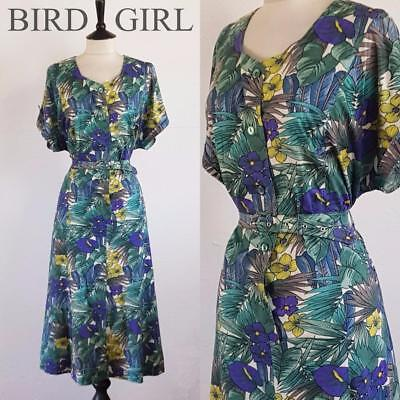 Painted Floral Print 1980S Vintage White T-Shirt Jersey Emo Belted Dress 16-18 L