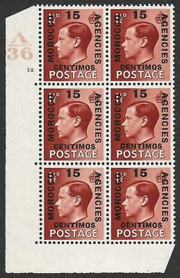 Morocco Agencies 1936-37 15c on 1½d Red-Brown SG 162 MNH Cylinder Block