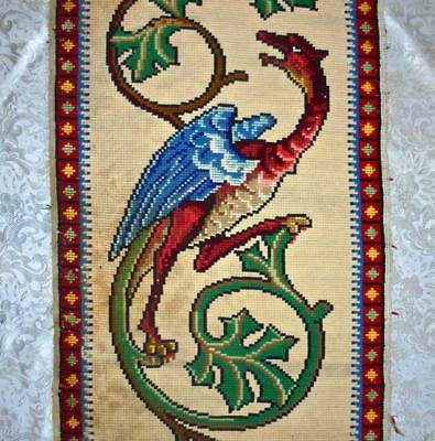 LARGE 19th CENTURY VICTORIAN GOTHIC BERLIN WOOLWORK DRAGON & IVY