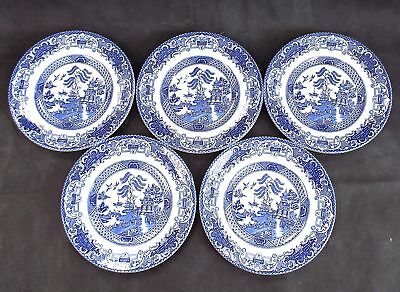 Vintage ENGLISH IRONSTONE Tableware Set Of 5 Old Willow Side Plates - W10