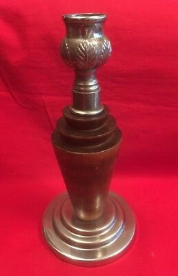 Vintage Chromium Plate And Wood Art Deco Candlestick c.1930's