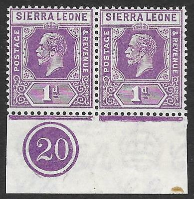 Sierra Leone 1925 1d Bright Violet SG 132a - MNH Marginal Pair with Plate No.