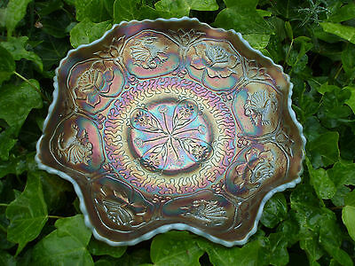 Carnival Glass.Fenton Dragon & Lotus Aqua Opalescent Bowl.RARE.Stunning Piece.