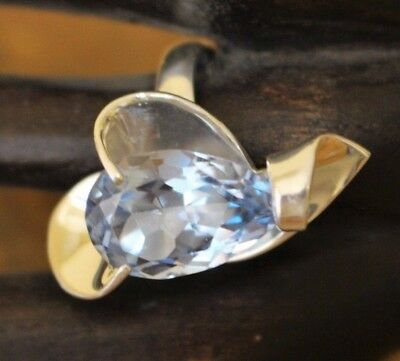 Vtg Mexico Chunky Sterling Silver 20 mm Pear Cut Blue Topaz Ring 7 Gram Size 6.5