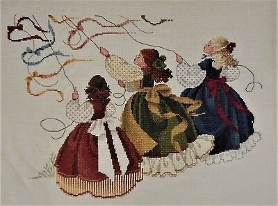 CATCH THE WIND Kite Girls FINISHED Pattern Butternut Road Completed CROSS STITCH