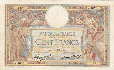 100 Francs Vf Banknote From France 1934! !pick-78
