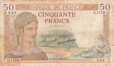 50 Francs Vg Banknote From France 1935! !pick-85